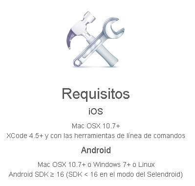 requisitos appium