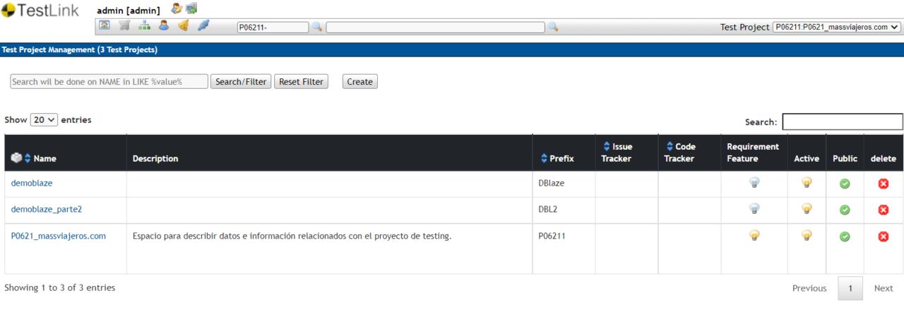 TestLink Test Project Management