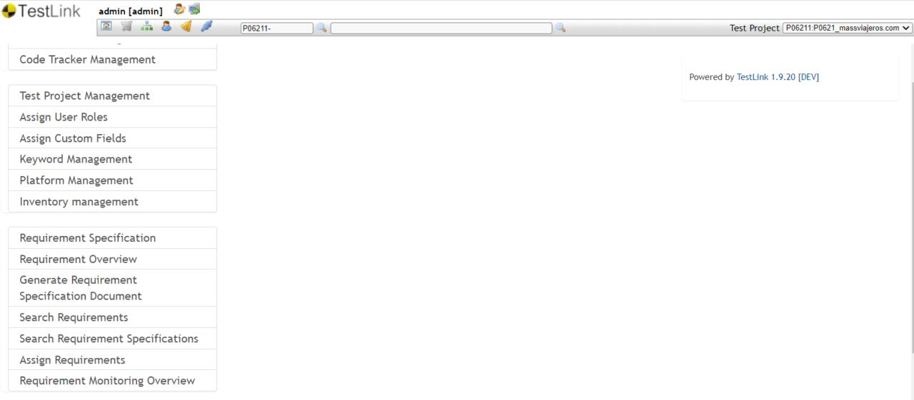 TestLink pantalla principal con sus bloques de funcionalidades