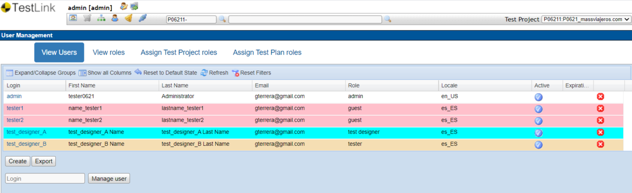 TestLink View Users